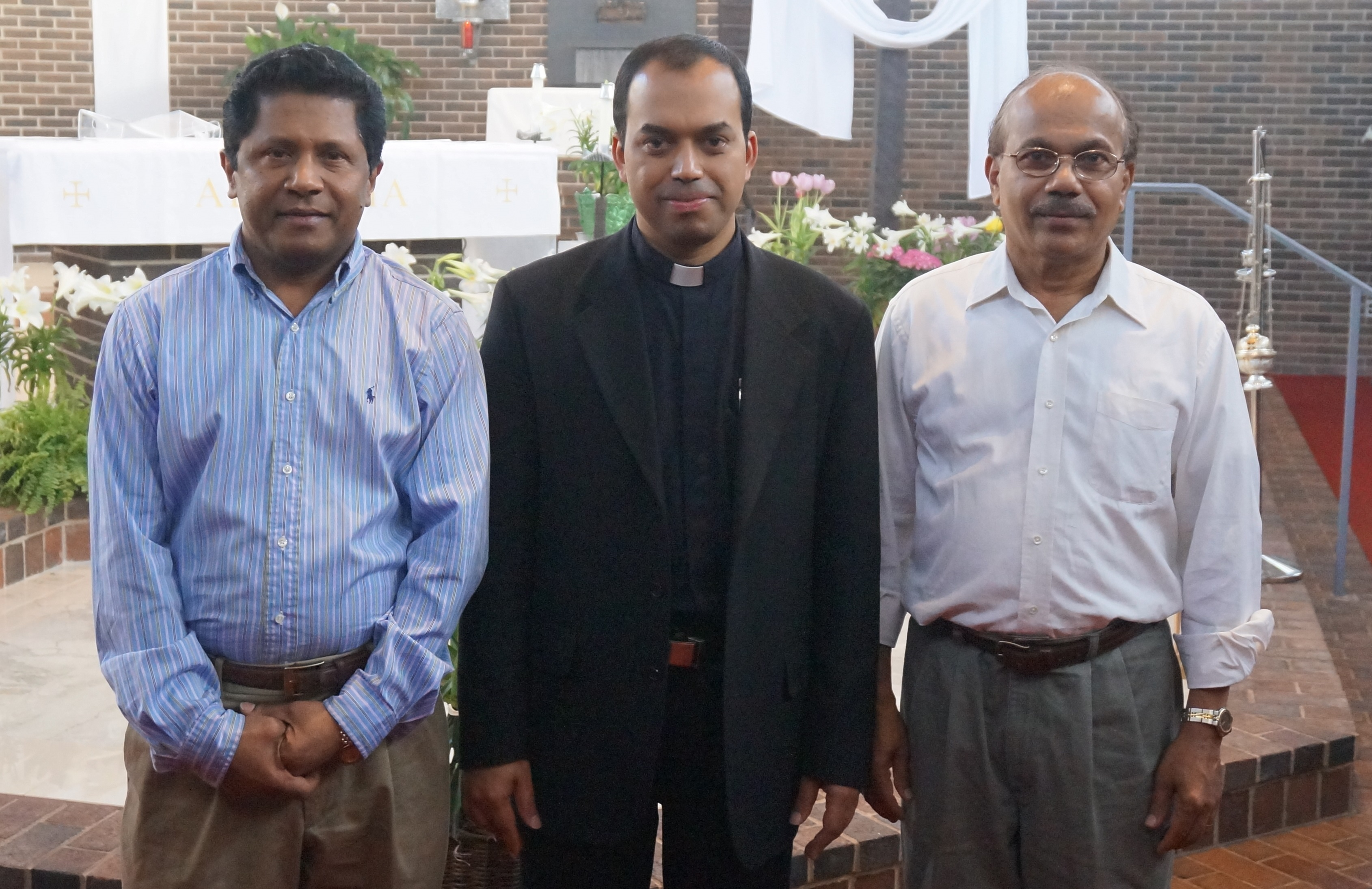 Trustees 2012-2014 Mr. Thomas Chennadu and Mr. Thomas Mathew with Fr. Joseph Pullikattil