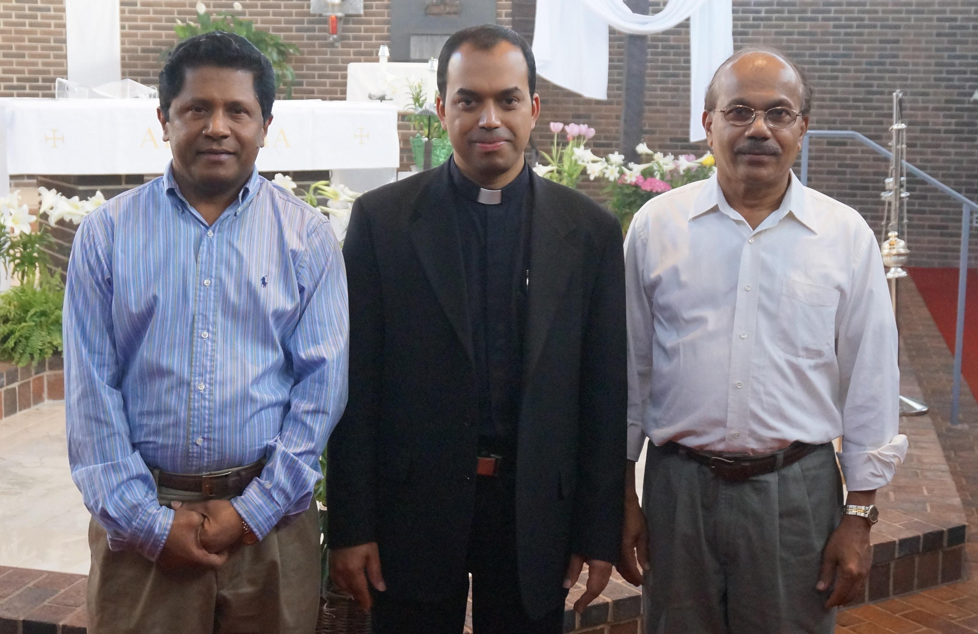Trustees 2012-2014 Mr. Thomas Chennadu and Mr. Thomas Mathew with Fr. Joseph Pullikattil